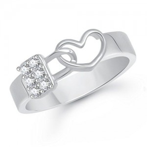 V. K. Jewels VK Jewels Love Lock Rhodium Plated Alloy Ring for Men- FR1963R [VKFR1963R]