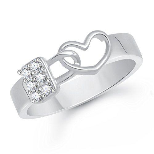 V. K. Jewels VK Jewels Love Lock Rhodium Plated Alloy Ring for Men- FR1963R [VKFR1963R]