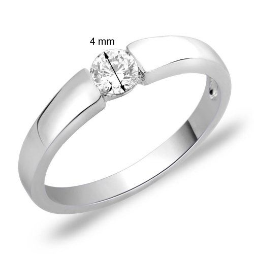 Peora .925 Sterling Silver White Gold Rhodium Petite Diamond Cut CZ Solitaire Proposal Engagement Wedding Band Ring for Women