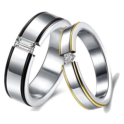 Via Mazzini Stainless Steel Lovers Delight Crystal Proposal Couple Rings for Boys and Girls (Ring0332)
