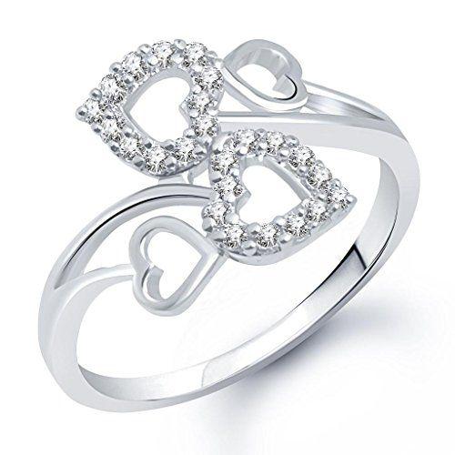 V. K. Jewels VK Jewels Couple Heart Rhodium Plated Ring- FR1306G [VKFR1306G]