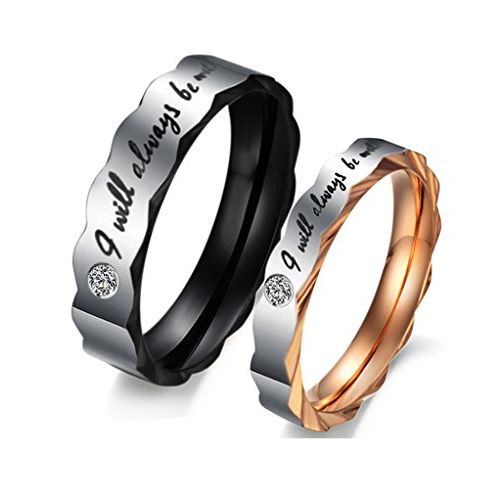 Girlz! Silver Titanium Cubic Zircon Couple Rings For Women & Men