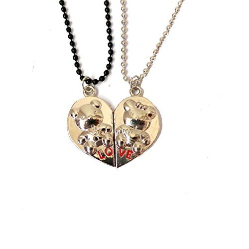Modish Look Cute Teddy Love Valentine Couple Magnetic Locket