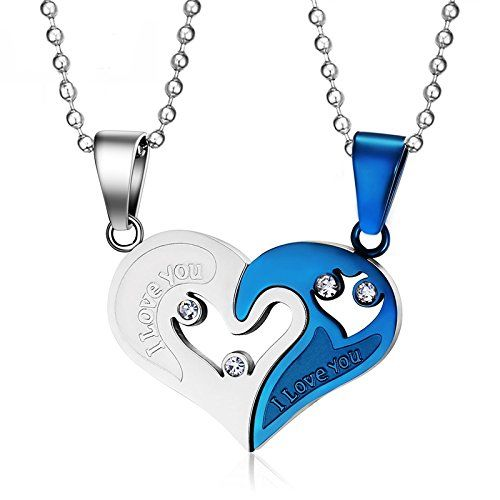 Asma Jewel House Silver and Blue Stainless Steel Metal Love Puzzle Combine Heart Couple Chain with Pendant Set for Men and Women