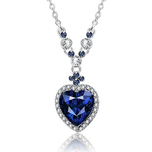 Yellow Chimes Crystals from Swarovski Blue Heart Designer Pendant for Woment and Girls