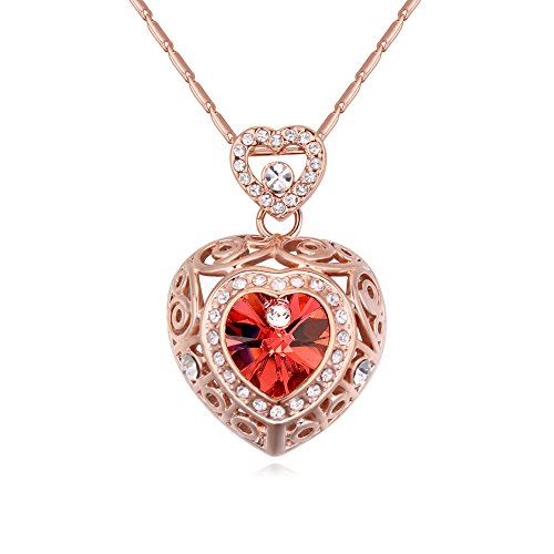 Hot And Bold Swarovski Crystals Diamond Heart/Love/Valentine Pendant Necklace. Daily/Party Wear Fashion Jewellery.