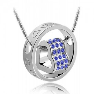 Crunchy Fashion Persian Blue Austrian Crystal Pendant Necklace With Chain For Women by ETERNO FASHIONS