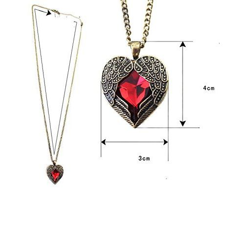 Shining Diva Cinderella Red Heart Pendant Necklace For Women
