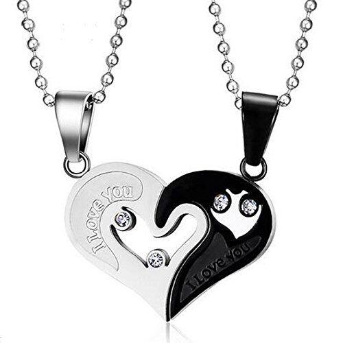 Asma Jewel House Silver Black Stainless Steel Love Devotion Combine Heart Couple Pendant Necklace For Men & Women