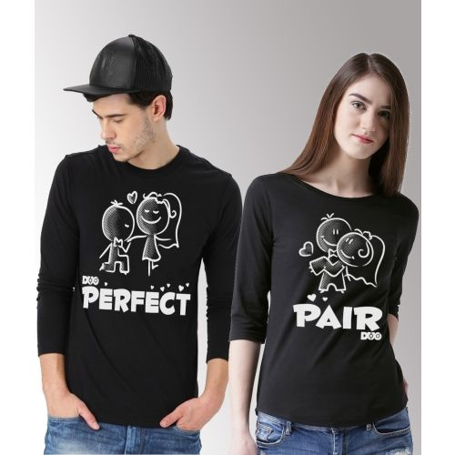 DUO COUPLE Self Design Men & Women Round Neck Black T-Shirt