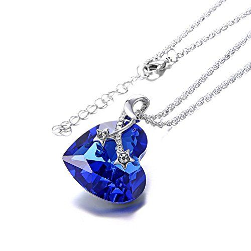 Sansar India Blue Crystal Valentine Heart Pendant Necklace for Women