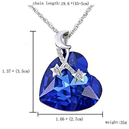 Sansar India Blue Crystal Valentine Heart Pendant Necklace for Women