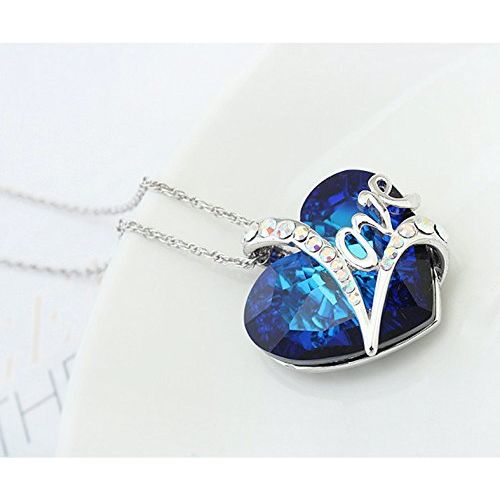 Hot And Bold Blue Swarovski Crystals Diamond Heart/Love/Valentine Pendant Necklace For Women's