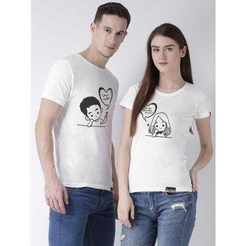 DUO COUPLE Printed Men Round Neck White, Black T-Shirt