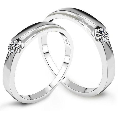 Peora AAA Swiss Zirconia Love Birds Crystal Couple Alloy Cubic Zirconia Silver Plated Ring Set