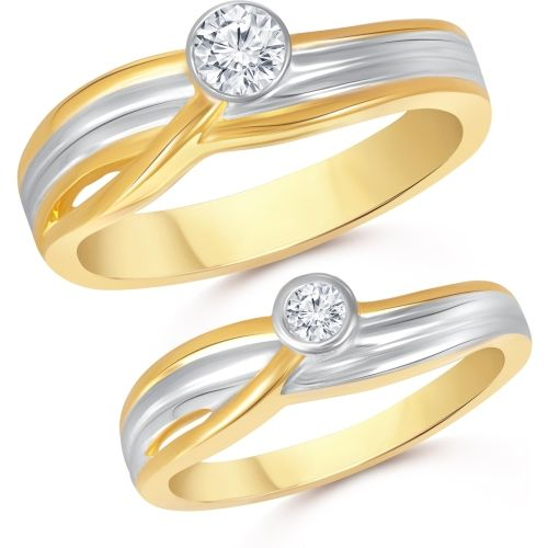 VK Jewels Single Stone Couple Alloy Cubic Zirconia Gold Plated Ring Set