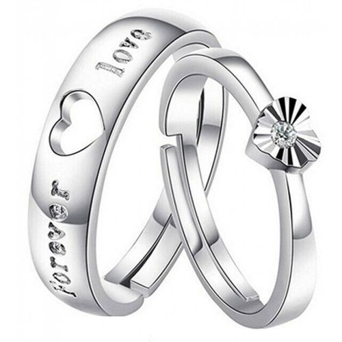 Peora Forever Austrian Crystal Love Couple Alloy Cubic Zirconia Silver Plated Ring Set