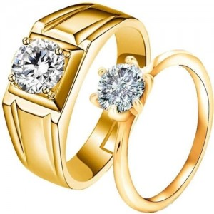 silver shine ADJUSTABLE COUPLE BAND RING SET Alloy Cubic Zirconia Gold Plated Ring Set