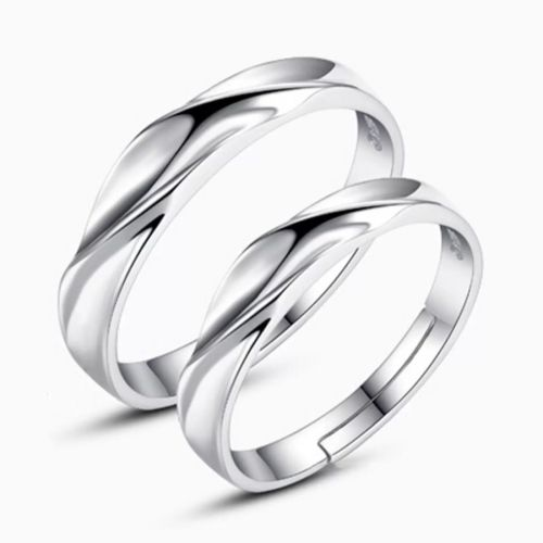 silver shine ADJUSTABLE COUPLE BAND RING SET Alloy Cubic Zirconia Silver Plated Ring Set