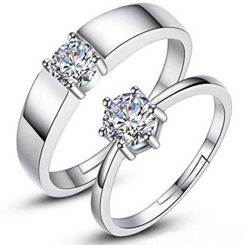 silver shine ADJUSTABLE COUPLE BAND RING Alloy Cubic Zirconia Silver Plated Ring Set