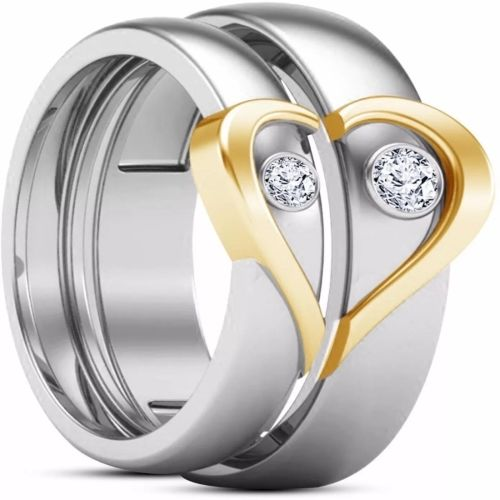 Silver Creations Adjustable Couple band ring set Alloy Cubic Zirconia Silver Plated Ring Set
