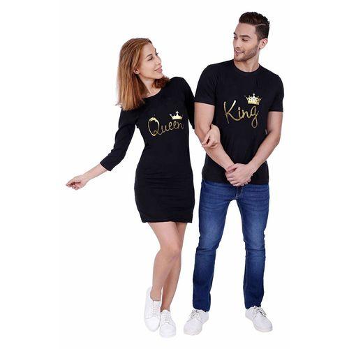 We2 Black Cotton Couple T Shirt Dress Combo King Queen