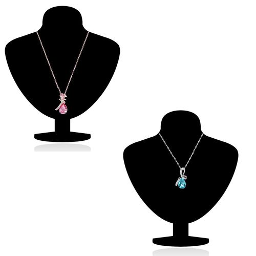 Om Jewells Austrian Crystal Jewellery Combo Set of 2 Ocean Water Drop Pendant Necklace with Chain for Girls CO1000040