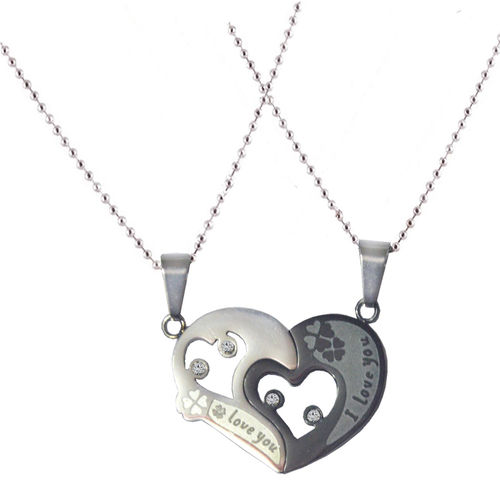 Men Style Sweethearts Couples His And Her I Love You Black And Silver Titanium Stainless Steel Heart Necklace Set Pendent For Men And Women