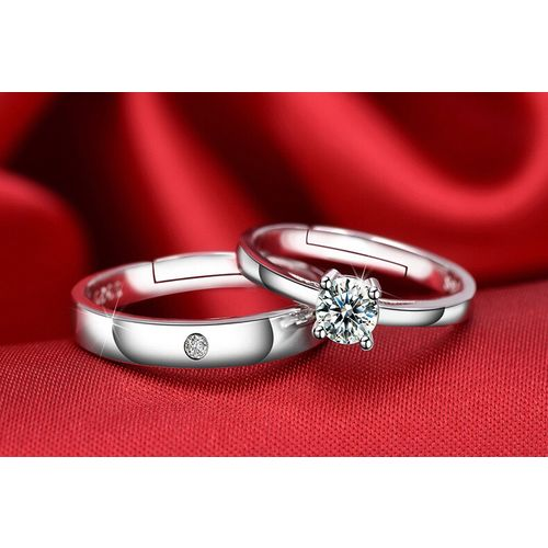 Code Yellow Rhodium Plated Cubic Zirconia Adjustable Couple Rings Set