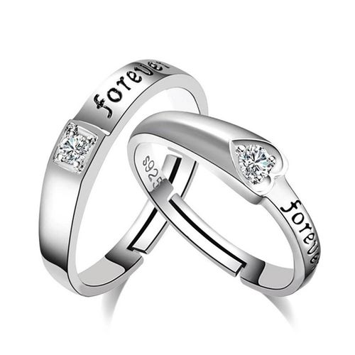 Style Stop Mr Mrs Love Forever Sterling Silver Cubic Zirconia Crystal Designer Edition Adjustable Engagement Couple Rings