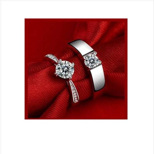 Others Beauteous Sterling Silver Crystal Adjustable Couple Rings By Stylish Teens