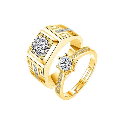 Style Stop King Queen Love Forever 24KT Gold Cubic Zirconia Elements Adjustable Couple Rings