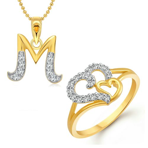 Buy Vighnaharta Couple Heart Ring with Initial Letter ''M'' Pendant