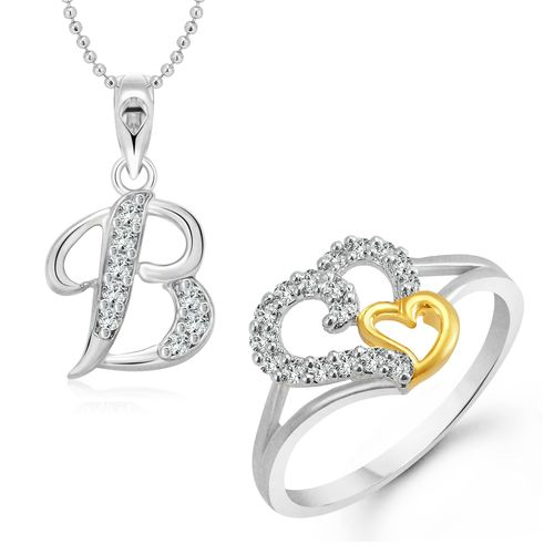 Vighnaharta White Couple Heart Ring with Initial Alphabet ''B'' Pendant Silver and Rhodium Plated Jewellery Combo set