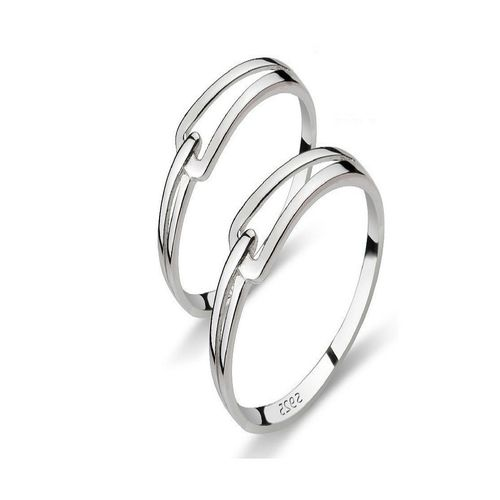 SILVERISH Forever Love Matching Alloy Couple Band For Him And Her Rhodium Plated Ring Set
