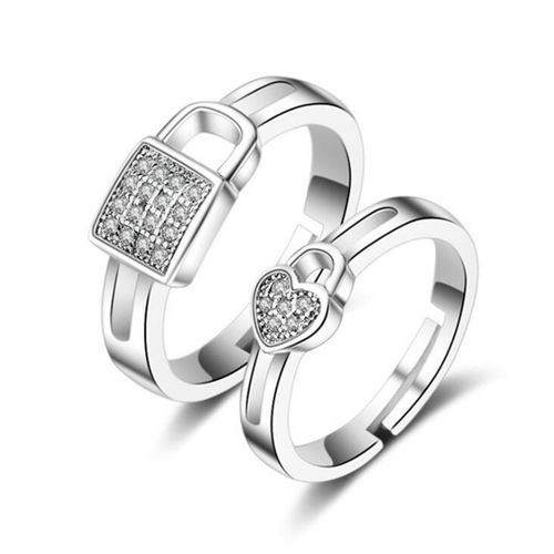 Style Stop King & Queen Sterling Silver Cubic Zirconia Adjustable Couple Rings