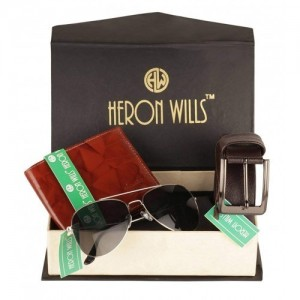 Heron Wills Men's Leather Combo Of Belt, Wallet & Sunglasses(69A_Multicolor_Free Size)