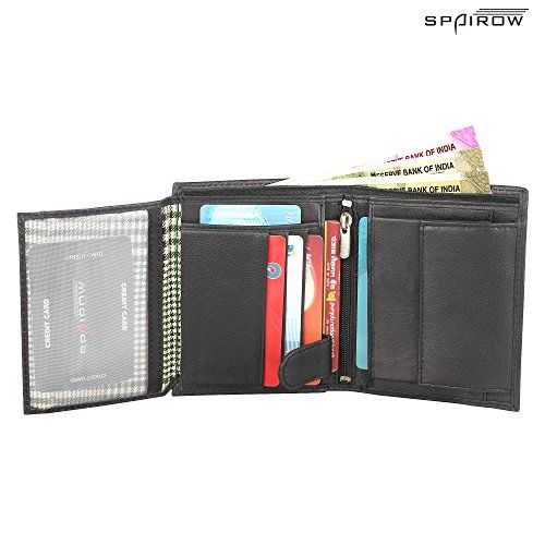 SPAIROW Men's Leather Wallet & Belt Combo -26(W337-PBL09) BLACK::BROWN