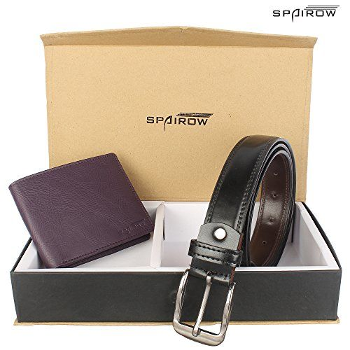 Spairow Men's Belt & Wallet (Combo4_Voilet, Purple,Black,Free Size)
