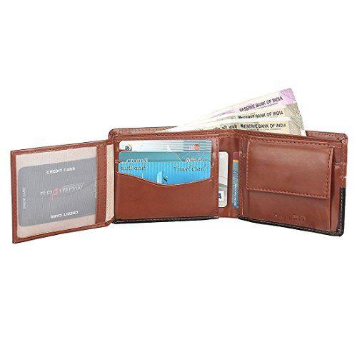 SPAIROW Men's Leather Wallet & Belt Combo -15 (W207-B13) BROWN :: BLACK