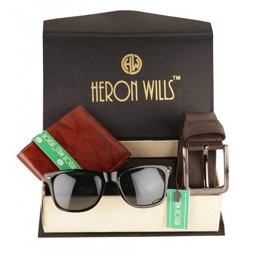 heron wills Men's Leather Accessories Combo (Multicolour, Free Size)