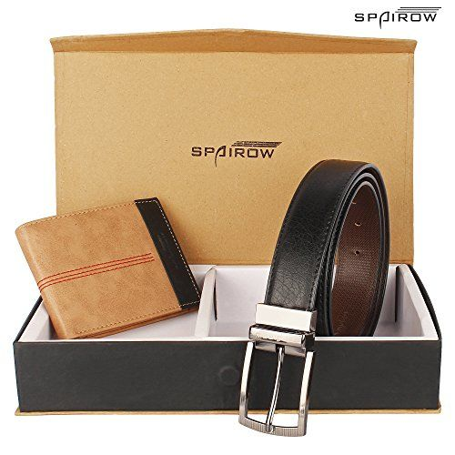 SPAIROW Men's Leather Wallet & Belt Combo (OD-0220 UB-0102R_Beige::Black)