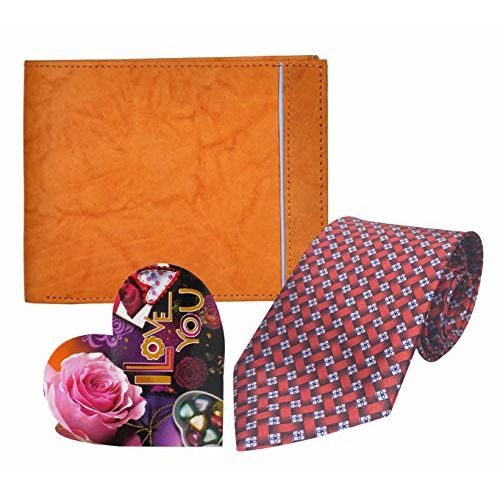 Saugat Traders Valentine Day Love Gift for Men & Boys - Love Small Card, Mens Leather Wallet & Men's Neck Tie