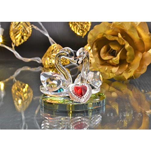 Valentines Gifts Crystal Swan by Raajaoutlets Feng Shui Showpiece for Love Girlfriends Boyfriends Couple Birthday PaperWeights