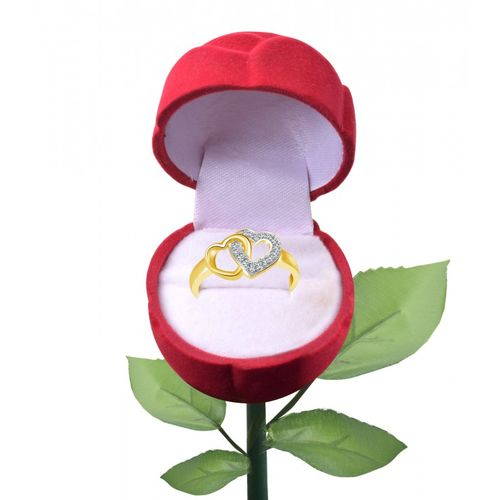 Vighnaharta Valentine U Me Heart CZ Gold and Rhodium Plated Alloy Ring for Girls and Women with Rose Ring Box
