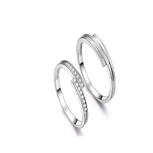 SILVERISH Forever Love Matching Alloy Couple Band For Him And Her Cubic Zirconia Rhodium Plated Ring Set