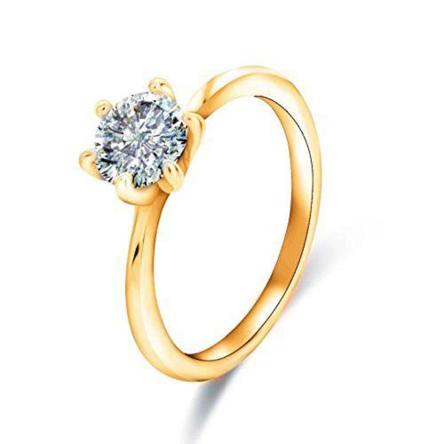 Style Stop King Queen 24 KT Gold Cubic Zirconia Zirconia Adjustable Couple Rings