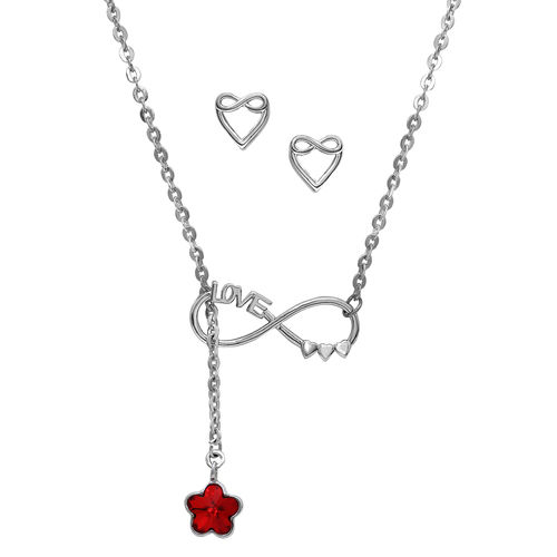 Mahi Rhodium Plated Insane Love adjustable lariat necklace set with Swarovski Crystal NL1104342RRed