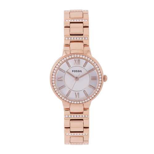 Fossil White & Silver-Toned Stone Women Studded Dial Watch ES3284I