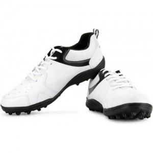 Vector X White Synthetic Leather Lace Up Cricket Shoes